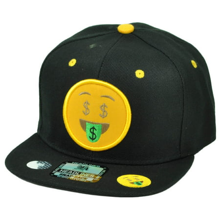 Emoji Money Hungry Face Emoticons Text Symbol Snapback Hat Cap Flat