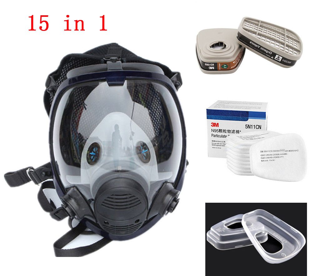 15 in 1 Set Similar As 3M 6800 Gas Mask Full Face Facepiece Respirator For Painting Spraying by Antsir