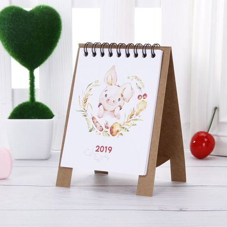 TURNTABLE LAB 3 PCS Mini Desk Calendar 2019 Cartoon Animal Bear flamingo Cat Desktop Paper Calendar Daily Scheduler Table Planner Yearly Agenda (Cat Desk Calendar)