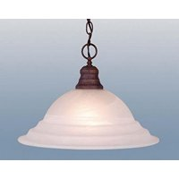 "GHP 15.75""x11.4"" 1 Light Weathered Patina And Alabaster Glass Pendant/Chandelier"