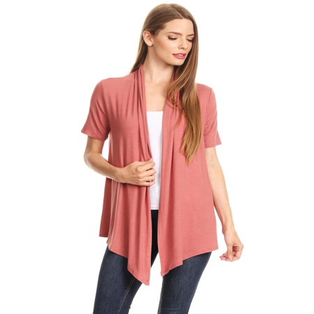 MOA COLLECTION Women's Solid Print Casual Comfy Short Sleeves Open Front Draped Cardigan/Made in -