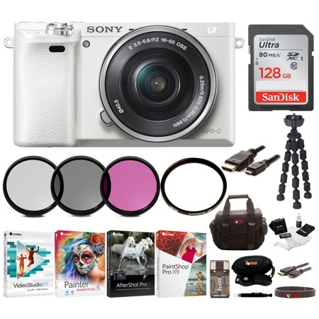 Sony Alpha a6000 Mirrorless Camera (White) with 16-50mm Lens and 128GB SD Bundle