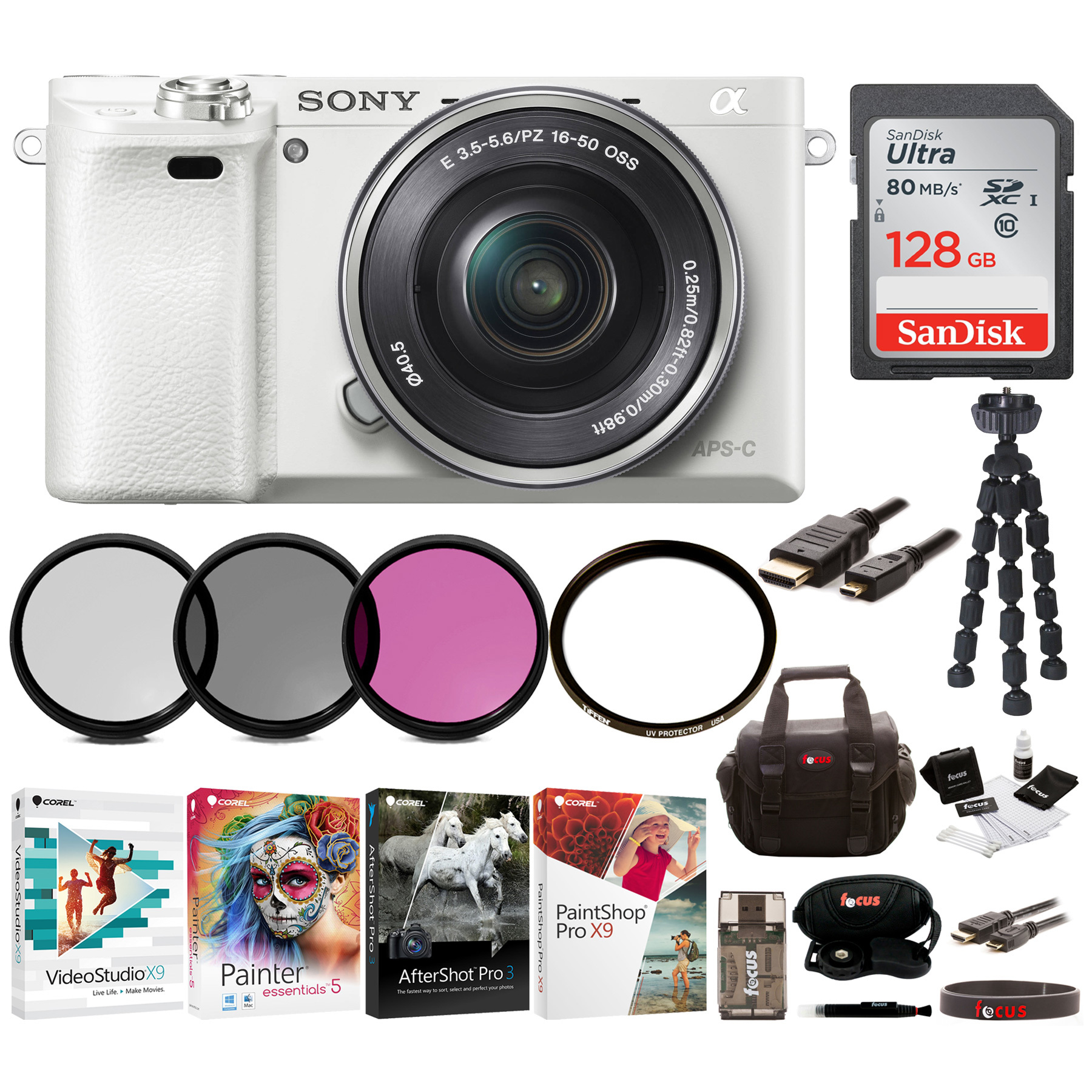 Sony Alpha a6000 Camera w/ 16-50mm Lens (White) + 128GB Card + Software Suite + Accessory Bundle