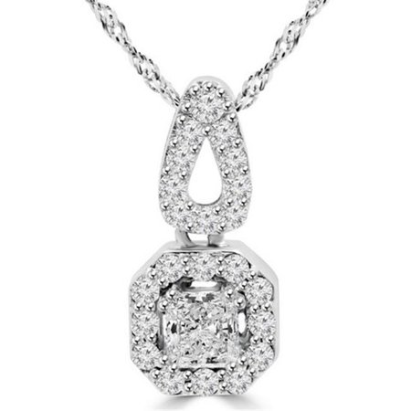 - Radiant Cut Diamond Halo Pendant Necklace in 14K White Gold With Chain, 1.1 Carat