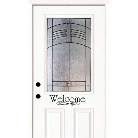 Welcome Sign Door Decor Stylish Art Text Letters Quote Custom Wall Decal Vinyl Peel & Stick Sticker 4 Inches X 12 Inches (Peel And Stick Letters)