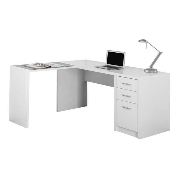 Monarch Computer Desk White Corner, White Glass Computer Desk