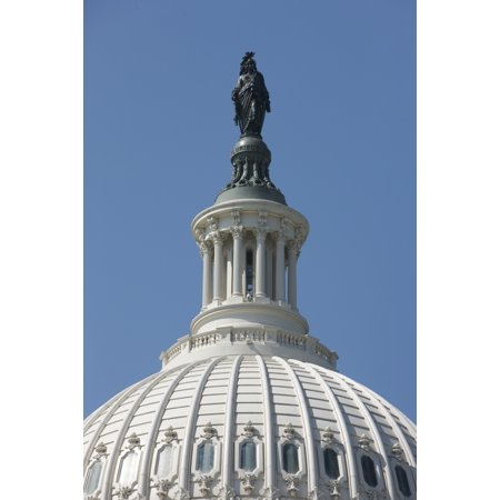 The United States Capitol building dome and statue Washington DC USA Poster Print