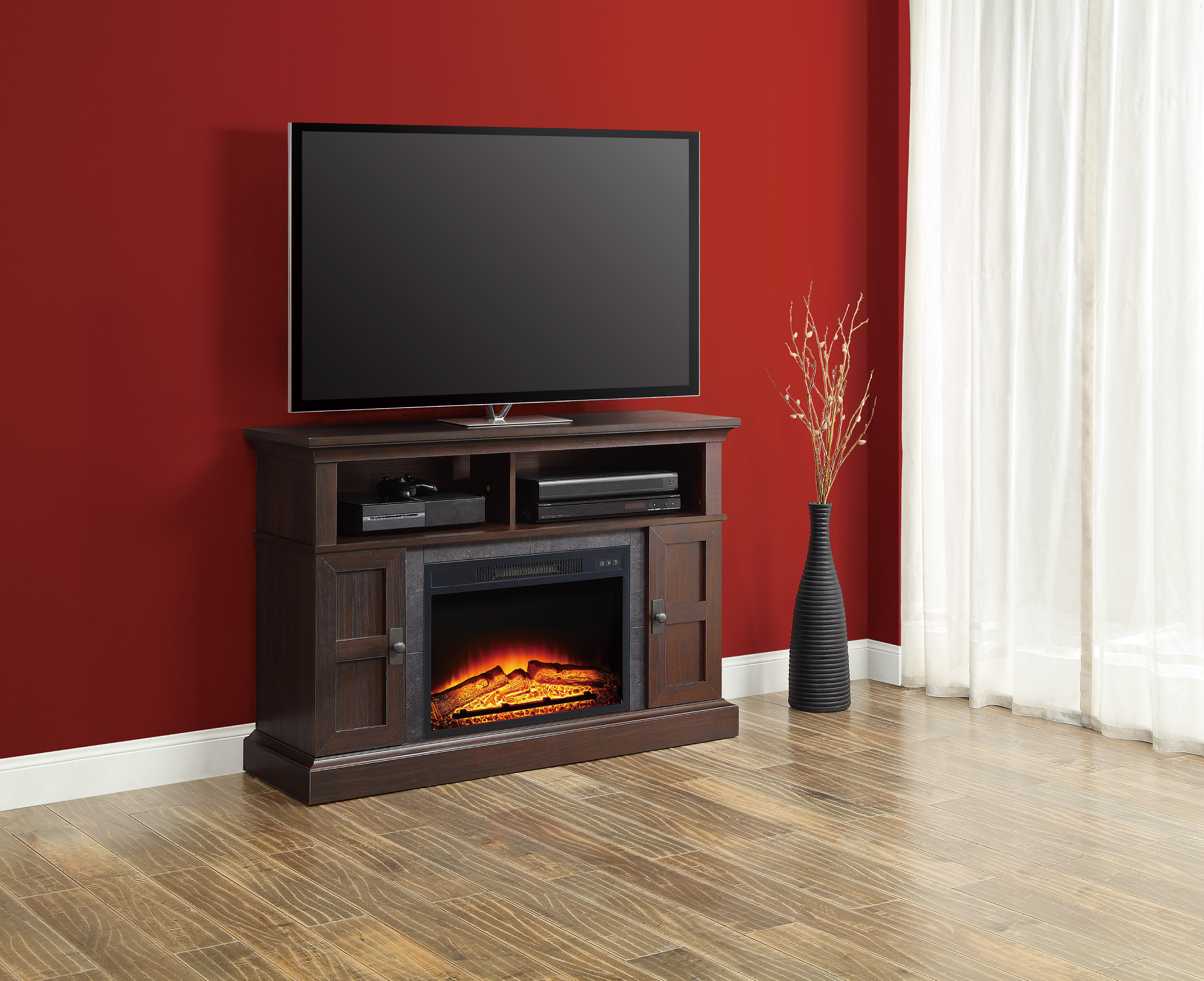 dark cherry rustic electric fireplace 55 tv stand entertainment with remote new ebay. Black Bedroom Furniture Sets. Home Design Ideas