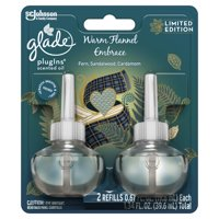 Glade PlugIns Refill 2 CT, Warm Flannel Embrace, 1.34 FL. OZ. Total, Scented Oil Air Freshener