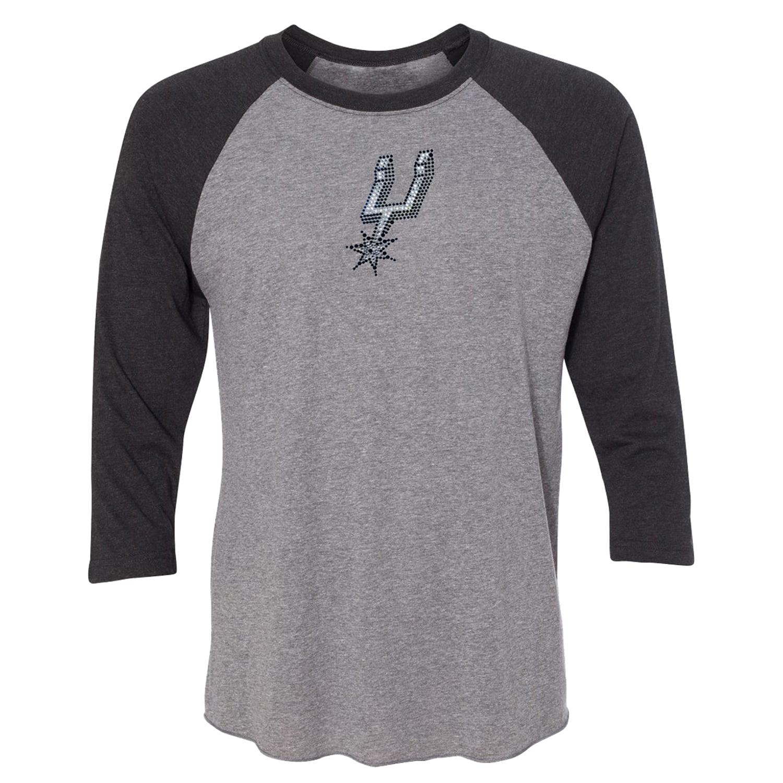 San Antonio Spurs Women's Rhinestone Raglan 3/4-Sleeve T-Shirt - Gray