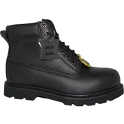KRAZY Safety Steel Toe Boots | SEDAGHATI 6 inch Black Genuine Leather Men's Work Boot