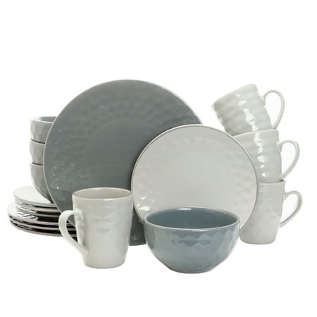- Elama Tahitian Pearl 16-Piece Dinnerware Set, Misty Blue