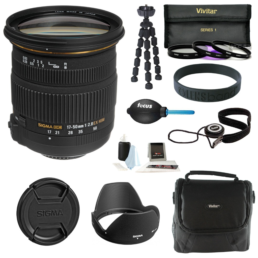 Sigma 17-50MM F2.8 EX DC OS HSM Zoom Lens for Nikon DX Digital with 77mm Lens Filter Kit and Accessory Bundle