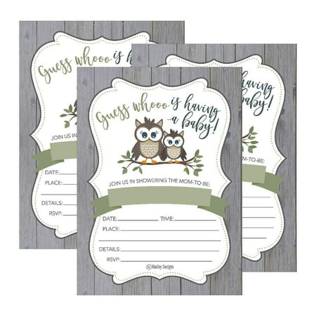 25 Cute Rustic Owl Woodland Forest Baby Shower Invitations, Printed Fill in The Blank Invites for Girls Boys Gender Neutral Grey Unique Vintage Coed Nature Wood Themed Party Card Stock - Hollywood Themed Invites