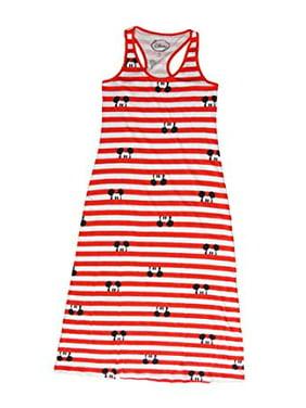 [P] Disney Juniors' Minnie Mouse Peeking Striped Maxi Dress - Red & White (SM)