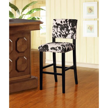 Linon Clayton Black Cow Print Bar Stool, 30 inch Seat Height ()