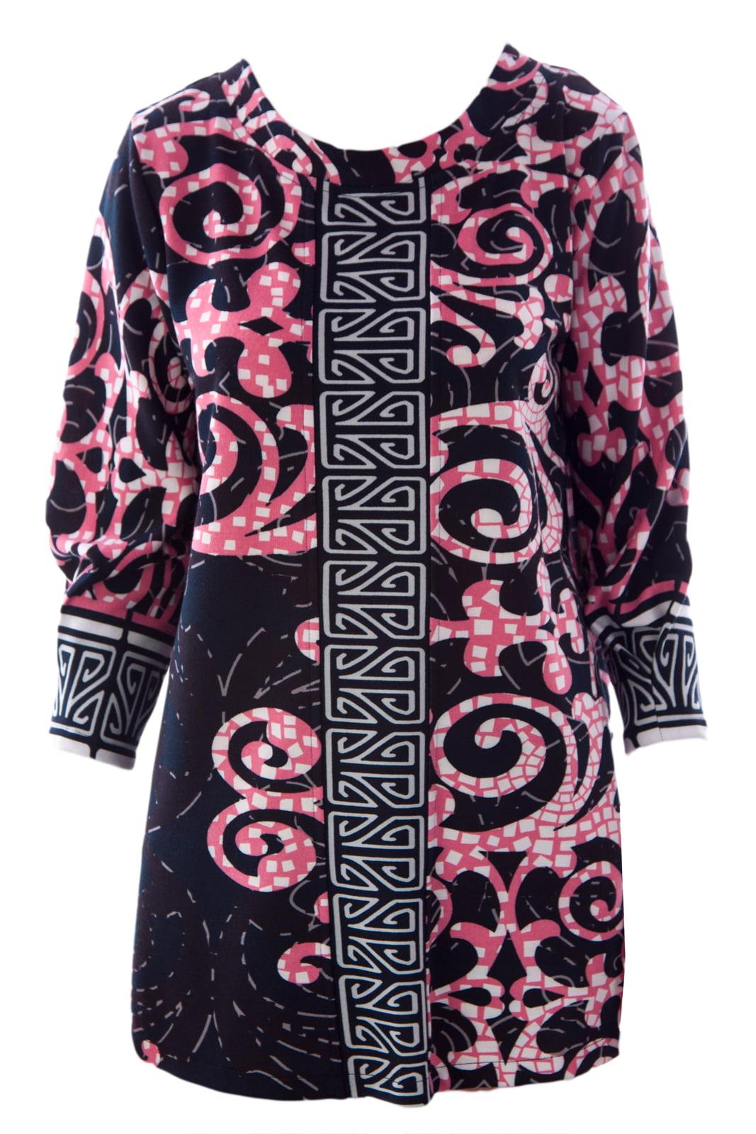 Olian Women's 3/4 Sleeve Printed Maternity Tunic X-Small Black & Pink