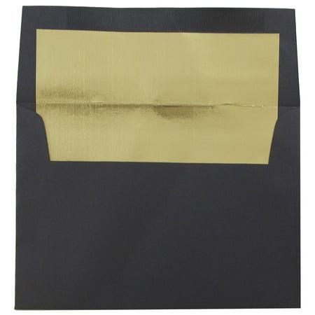 Black Lined Envelope (JAM Paper A6 Foil Lined Envelopes, 4 3/4 x 6 1/2, Black Linen with Gold Foil Lining, 50/pack )