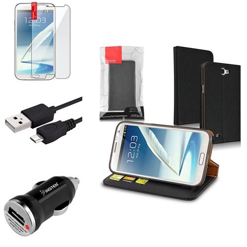 Insten Leather Wallet Case+6ft Cable+Car Charger+LCD Protector For Samsung Galaxy Note 2 II