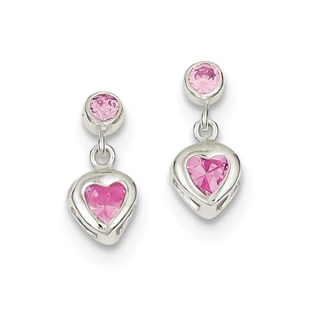 Sterling Silver Polished Post Earrings Pink Heart Cubic Zirconia