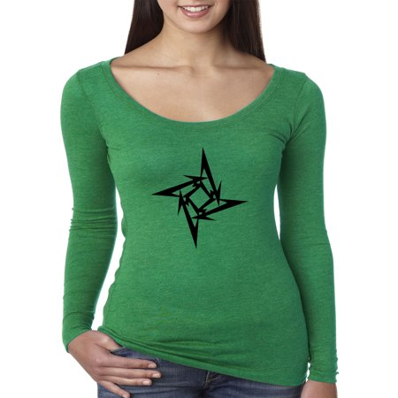 Trendy USA 1334 - Women's Long Sleeve T-Shirt Metallica M Star Box Logo Metal Rock Band Large Envy
