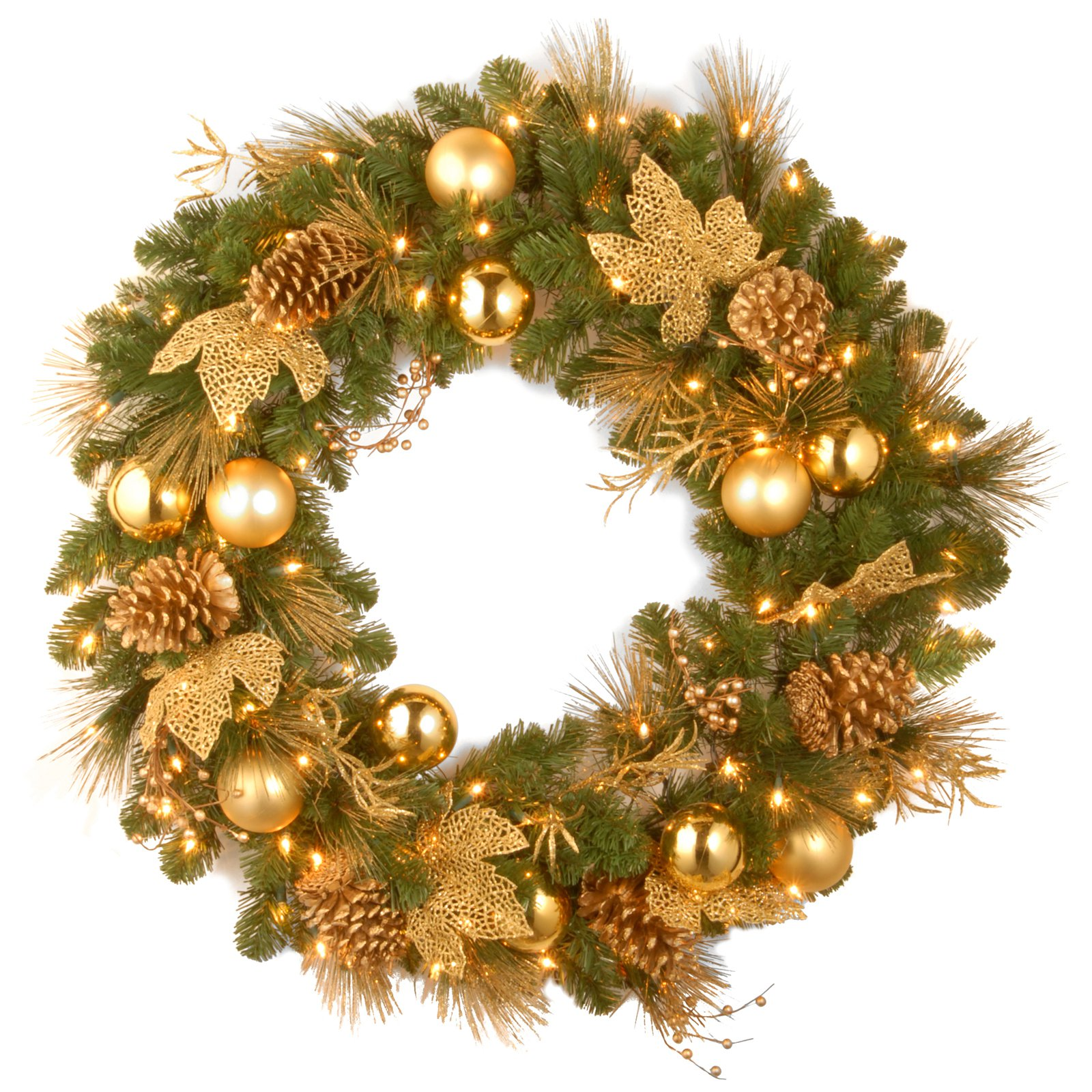 "National Tree Pre-Lit 24"" Decorative Collection Elegance Wreath with Battery Operated LEDS with Timer"