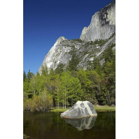 North Face Half Dome - North West Face of Half Dome, and Mirror Lake, Yosemite NP, California Print Wall Art By David Wall