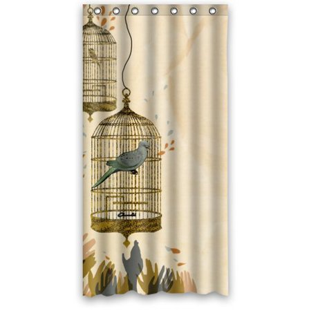 MOHome Bird Cage Shower Curtain Waterproof Polyester Fabric Size 36x72 Inches