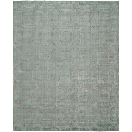 K2 Floor Style Avalon Crystal Blue Hand Made Wool & Silkette™ Area Rug Blue Handmade Resin