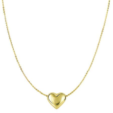 JewelryAffairs 14k Yellow Gold Sliding Puffed Heart Pendant On 18