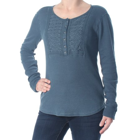 LUCKY BRAND Womens Blue Embroidered  Thermal Long Sleeve Top  Size: S Cotton Long Sleeve Overalls