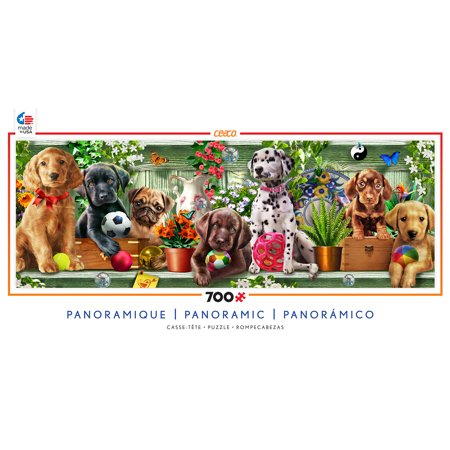 Ceaco 700 Piece Jigsaw Puzzle Long Shots Panoramic Puzzle - Puppies #2904-07 ()
