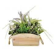 Boston International MAY16135 Lavender & Ferns In Wood Pail