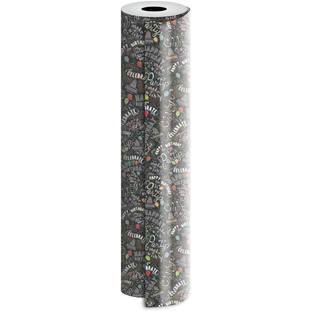 JAM Paper Industrial Size Bulk Wrapping Paper Rolls, Birthday Chalk Design, 1/4 Ream (416 Sq Ft), Sold Individually
