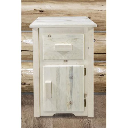 Homestead End Table with Drawer & Door Right Hinged, Ready Finish - Hinged Door Table