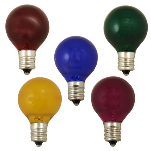 Pack of 10 Multi-Color G30 Satin Replacement Christmas Bulbs for C7 Sockets