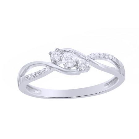 Round Cut White Natural Diamond Three Stone Twist Engagement Ring in 10k White Gold (0.2 Cttw)