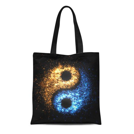 ASHLEIGH Canvas Bag Resuable Tote Grocery Shopping Bags Colorful Energy Yin Yang Abstract Light and Fire Particles Symbol Tote Bag