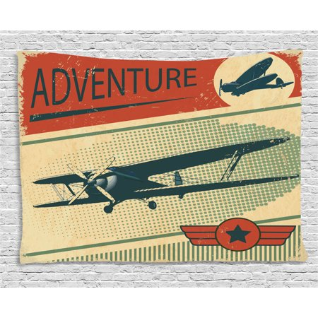 Vintage Decor Tapestry, Nostalgic Small on Dotted Grunge Backdrop Military Adventure Airpark Plane Graphic, Wall Hanging for Bedroom Living Room Dorm Decor, 60W X 40L Inches, Multi, by Ambesonne