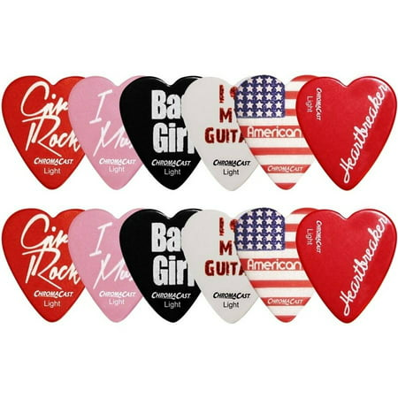 ChromaCast Heart Shaped Guitar Picks, 12 Pack