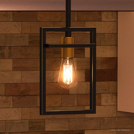 "Urban Ambiance Luxury Minimalist Pendant, Small Size: 10.75""H x 6.5""W, with Multi-Tone Style Elements, Parisian Bronze Finish, UQL2892 from the Sandwell Collection"