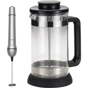 BonJour Coffee and Tea 8-Cup Riviera French Press with Coaster and Scoop with Your Choice of BonJour Coffee and Tea Mini Milk Frother