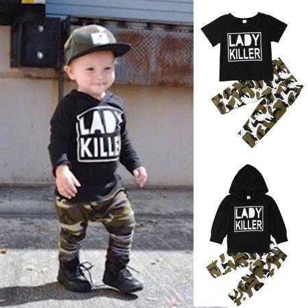 Newborn Kids Baby Boy Clothes T Shirt Tops+Camo Pants Shorts 2pcs Outfits Set