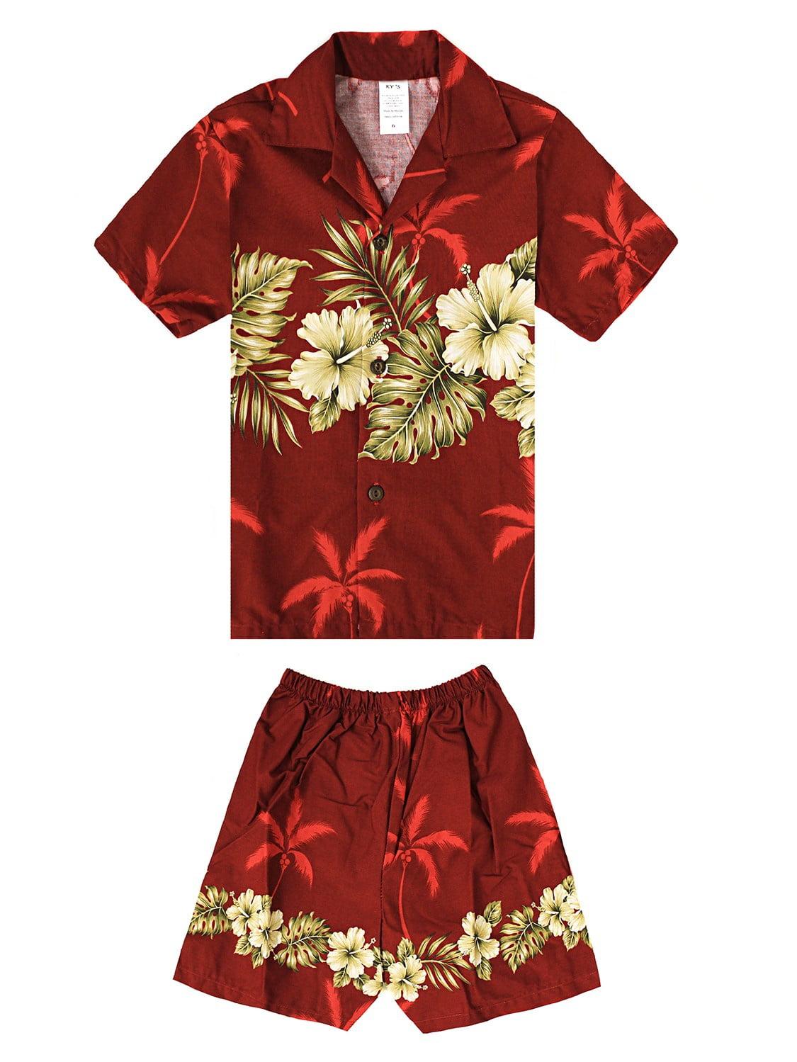 Made in Hawaii Luau Aloha Shirt and Shorts Boy Cabana Set Gloden Hibiscus Cross in Red 8