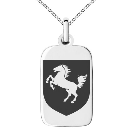 Stainless Steel Horse Battle Coat of Arms Shield Engraved Small Rectangle Dog Tag Charm Pendant Necklace (Picture Jasper Rectangle Pendant)