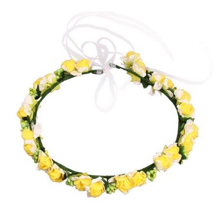 Elegant Bridal Wreath Flower Headband Hair Band Floral Crown Garland for Festival Wedding Beach - Yellow (Bridal Wreath Headband)