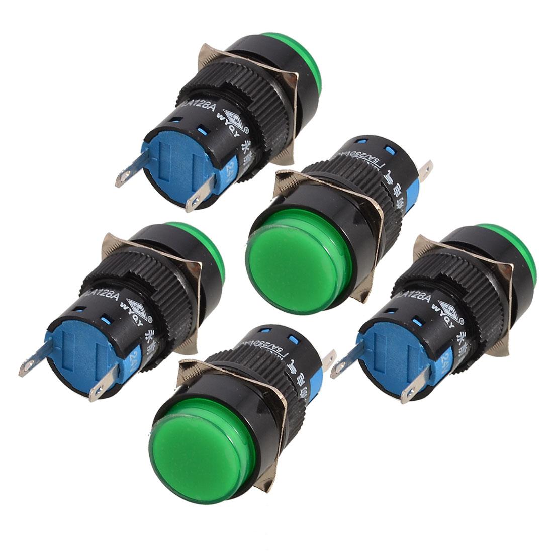5 Pcs Green Round Cap 2 Terminals Fault Signal Lamp Indicator Light DC 24V