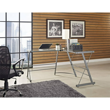 Ameriwood Home Odin Glass L Shaped Computer Desk Gray