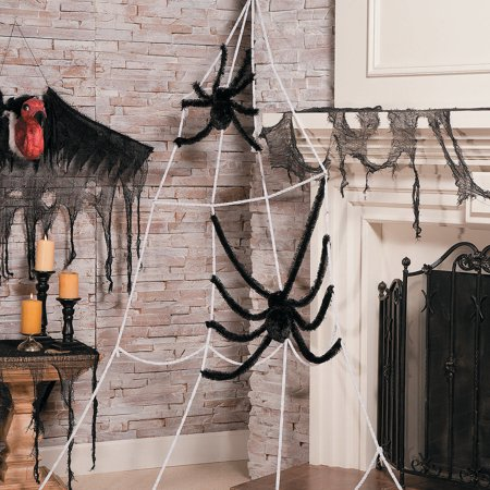 Fun Express - Jumbo Corner Spider Web With Spiders for Halloween - Home Decor - Decorative Accessories - Home Accents - Halloween - 3 Pieces ()