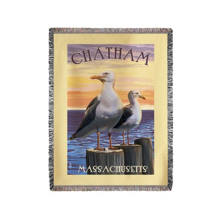 Chatham, Massachusetts - Seagulls - Lantern Press Poster (60x80 Woven Chenille Yarn Blanket)